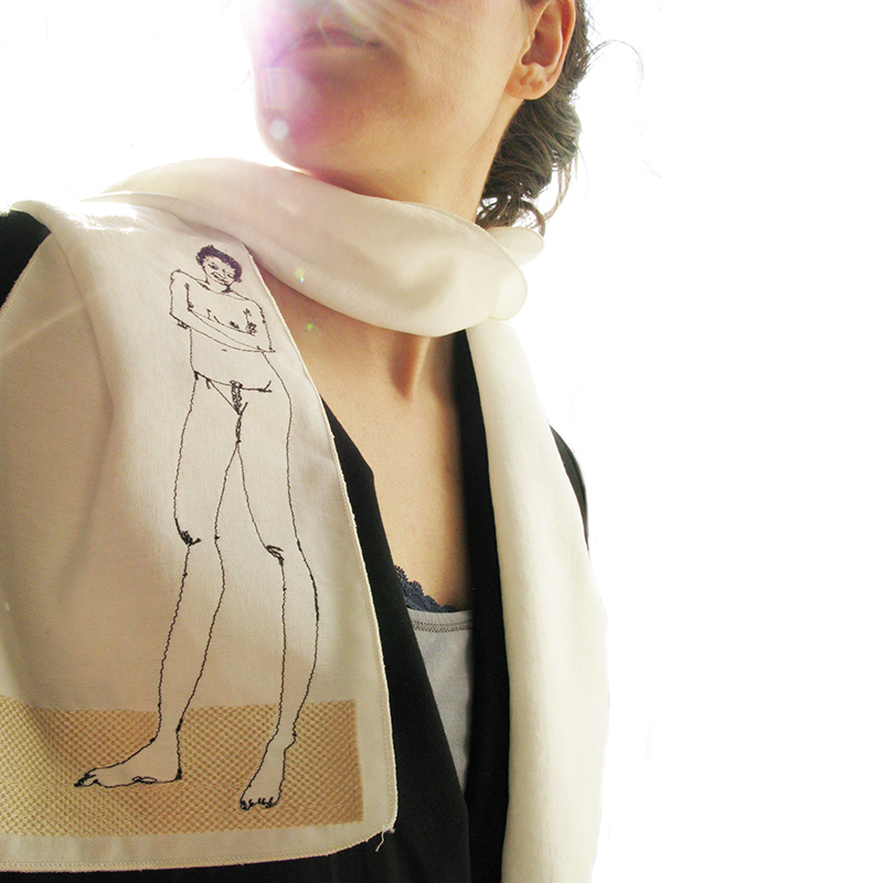 Nude-2 embroidered scarf