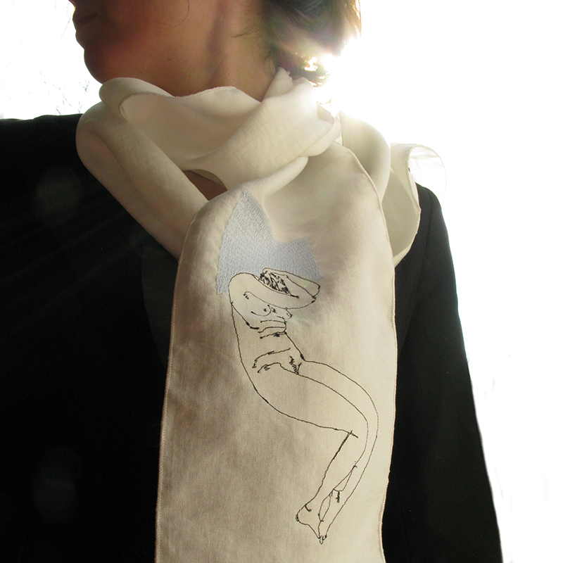 Nude-3 embroidered scarf